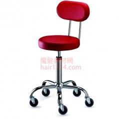 【營業剪髮椅】高級椅背時尚鍍鉻設計師椅-全紅